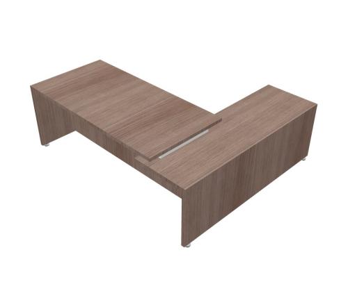 Scrivania Angolare Piano e Gambe in legno doppio livello - 00