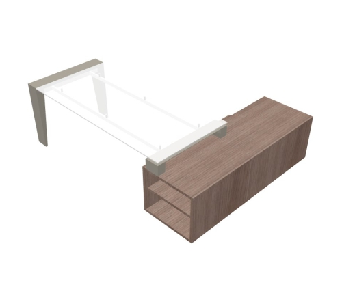 Scrivania Angolare piano vetro gamba Metallo con mobile di servizio - 00